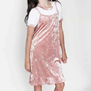 Girls Velvet Cami Dress w/ Ruffle Pink