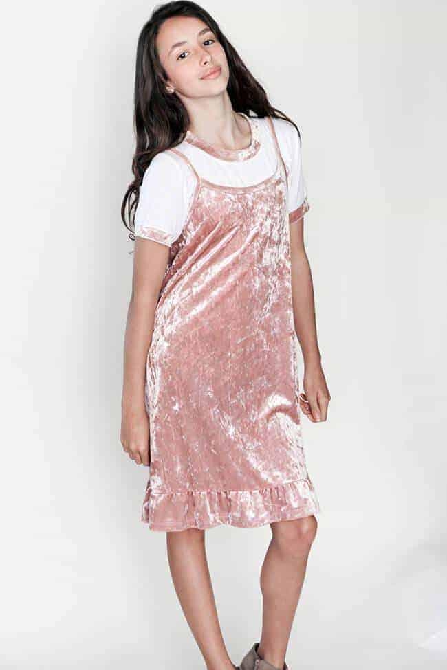 Girls Velvet Cami Dress w/ Ruffle Pink