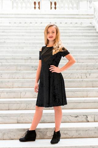 Girls Velvet Cutout Shoulder Dress Black
