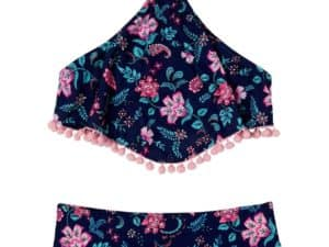 Girls Floral Field 2-Piece Swimsuit Navy