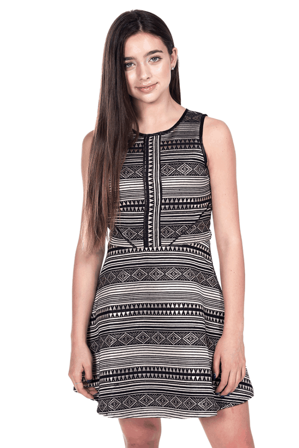 Kate Geometric Dress Black