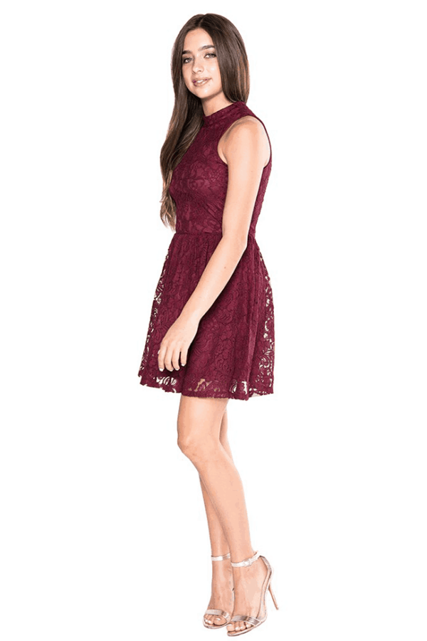 Girls Hailee Dress Burgundy