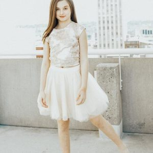 Girls 2-Piece Lace & Tulle Dress Brooke Beige