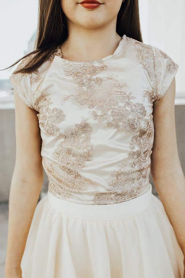 Girls 2-Piece Lace & Tulle Dress Brooke Beige
