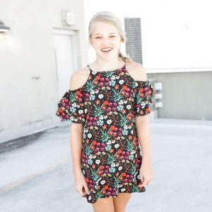 Girls Floral Print Dress Black/Multi