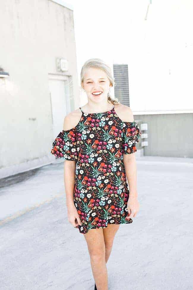 Girls Floral Print Dress Black/Multi