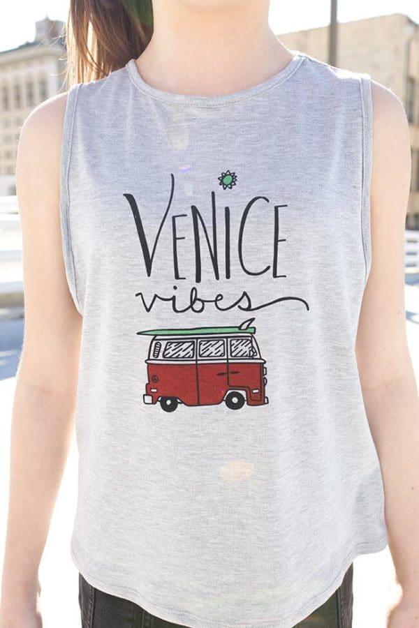 """Love & Sunflowers """"Venice Vibes"""" Grey Jersey Knit"""