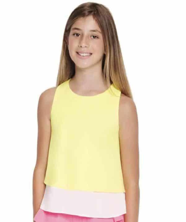 Girls Chiffon Ruffle Top Lemon