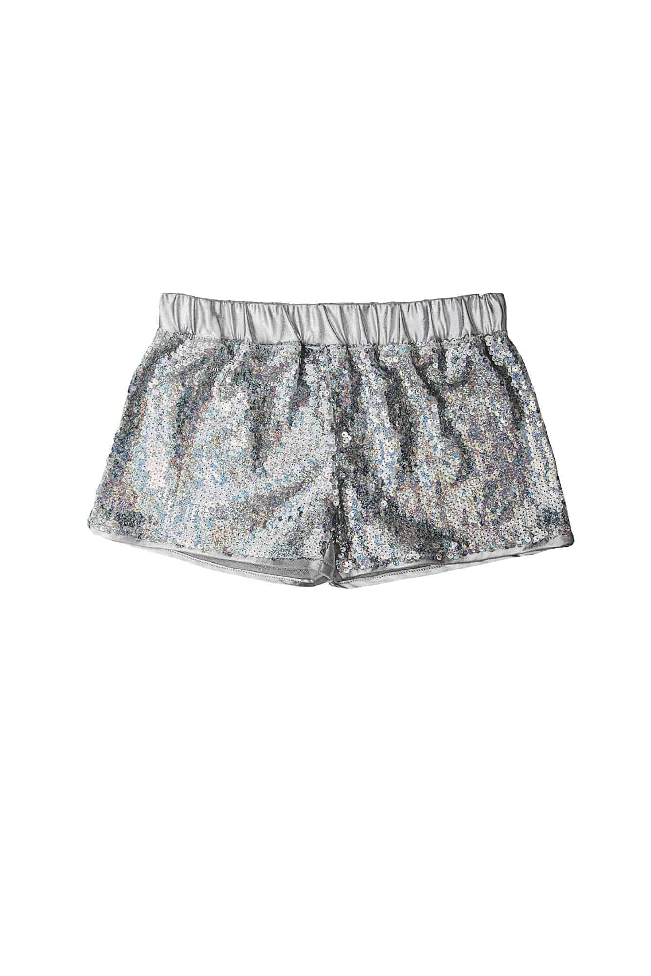 Girls Disco Short Silver