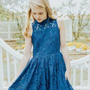 Girls Delilah Dress Royal Blue