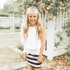 Girls Stripe Skirt Black/White