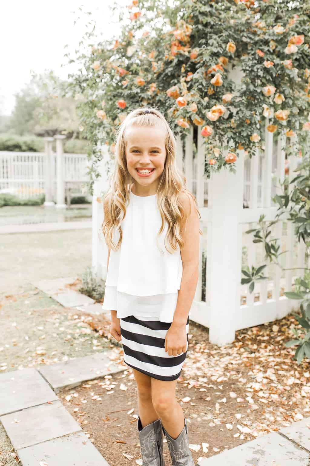 Girls Stripe Skirt Black/White