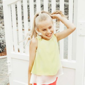 Girls Chiffon Ruffle Top Lemon