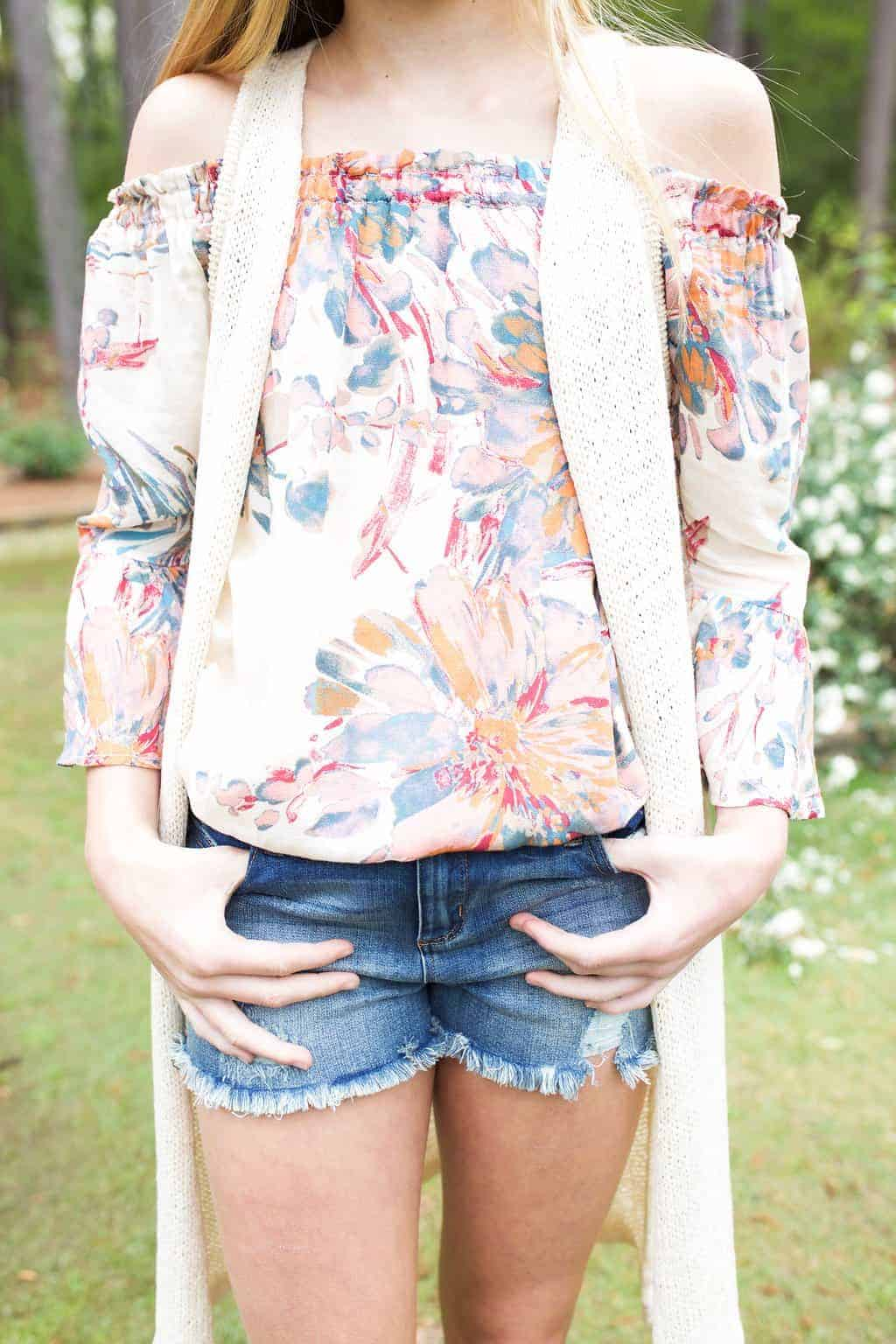 Tween Floral Off Shoulder Top