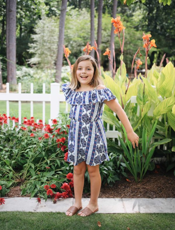 """Tween Cold Shoulder Geo Stripe Dress"""