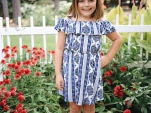 """Tween Cold Shoulder Geo Stripe Dress"""