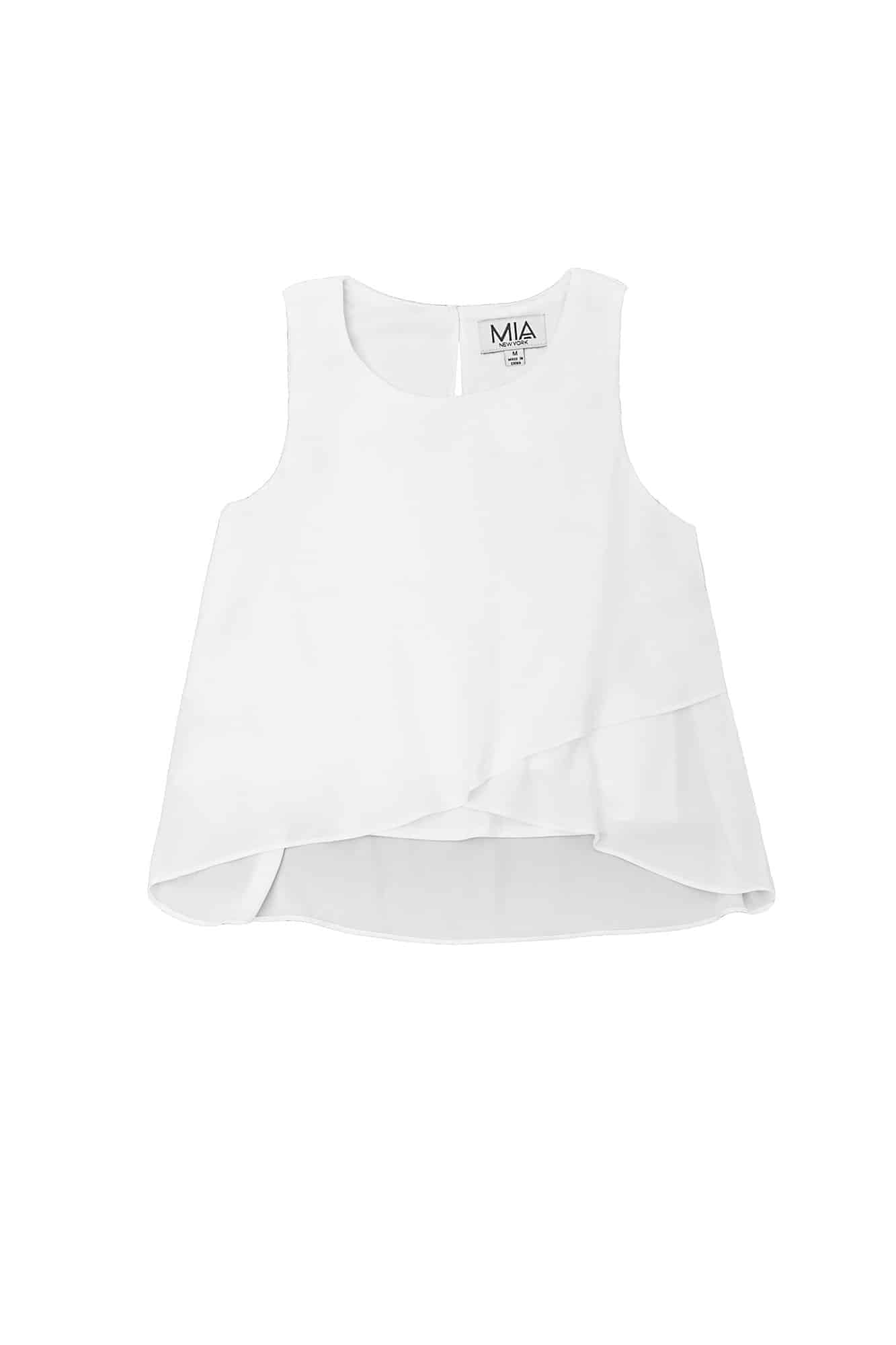 Tween Chiffon Crossover Top (White)