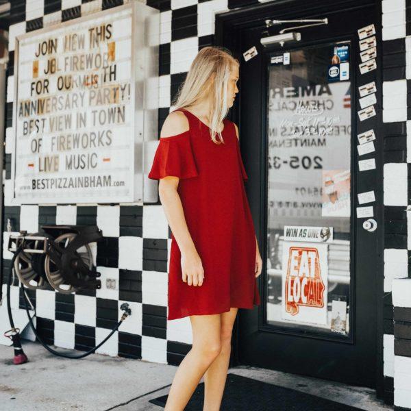 Tween Cold-Shoulder Dress ~ Crimson