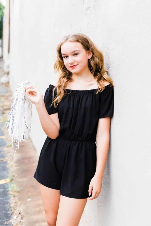 Juniors Black Romper