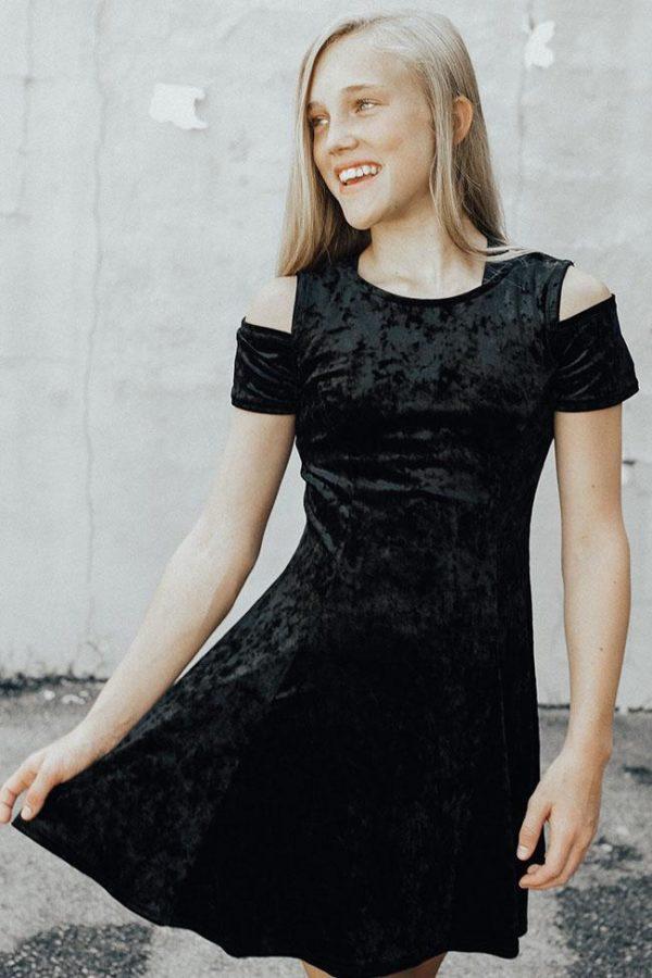 Girls Velvet Cutout Shoulder Dress Black