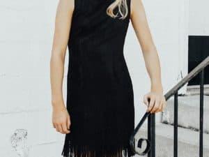 Tween Suede Fringe Dress ~ Black