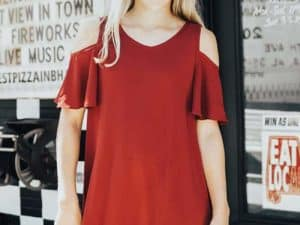 Tween Cold-Shoulder Dress ~ Crimson
