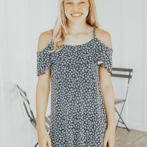 Tween Daisy Cold Shoulder Dress ~ Navy/White
