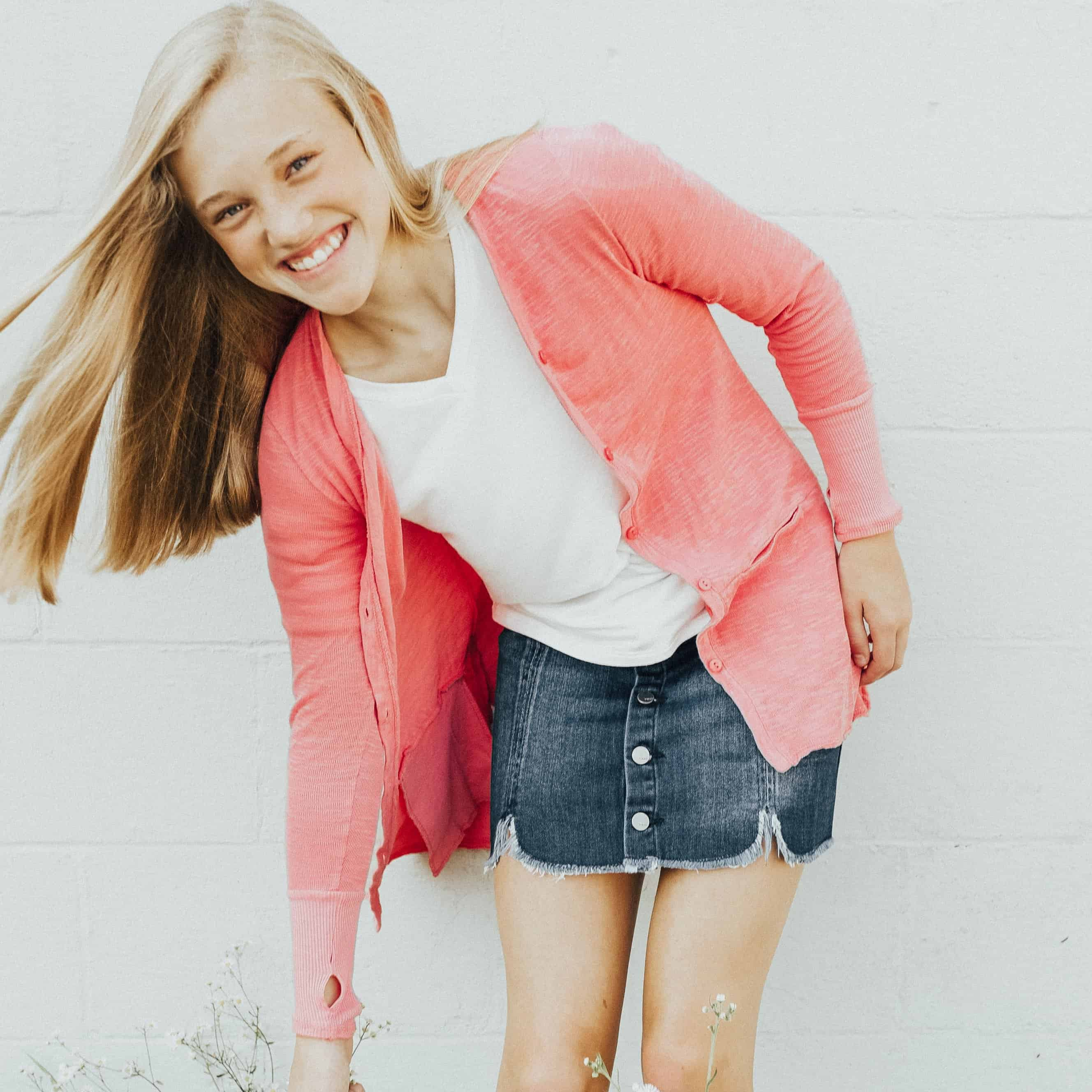Tween V-Neck Cardigan ~ Red Clay