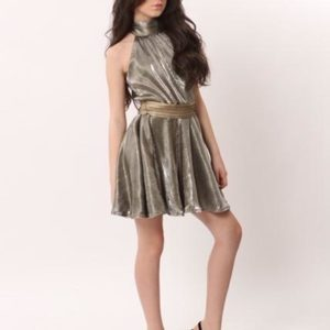 Tween Special Occasion Halter Dress ~ Silver w/ Gold Belt