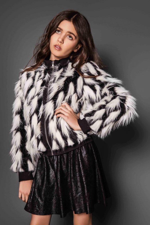 Tween Party Fur Jacket ~ Black/White