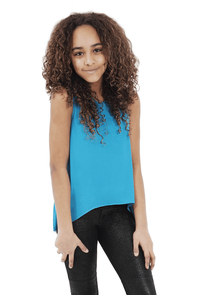 Tween Chiffon Top ~ Turquoise