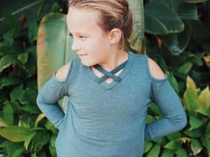 "Girls ""Cold Shoulder Criss-Cross Top"" ~ Green"