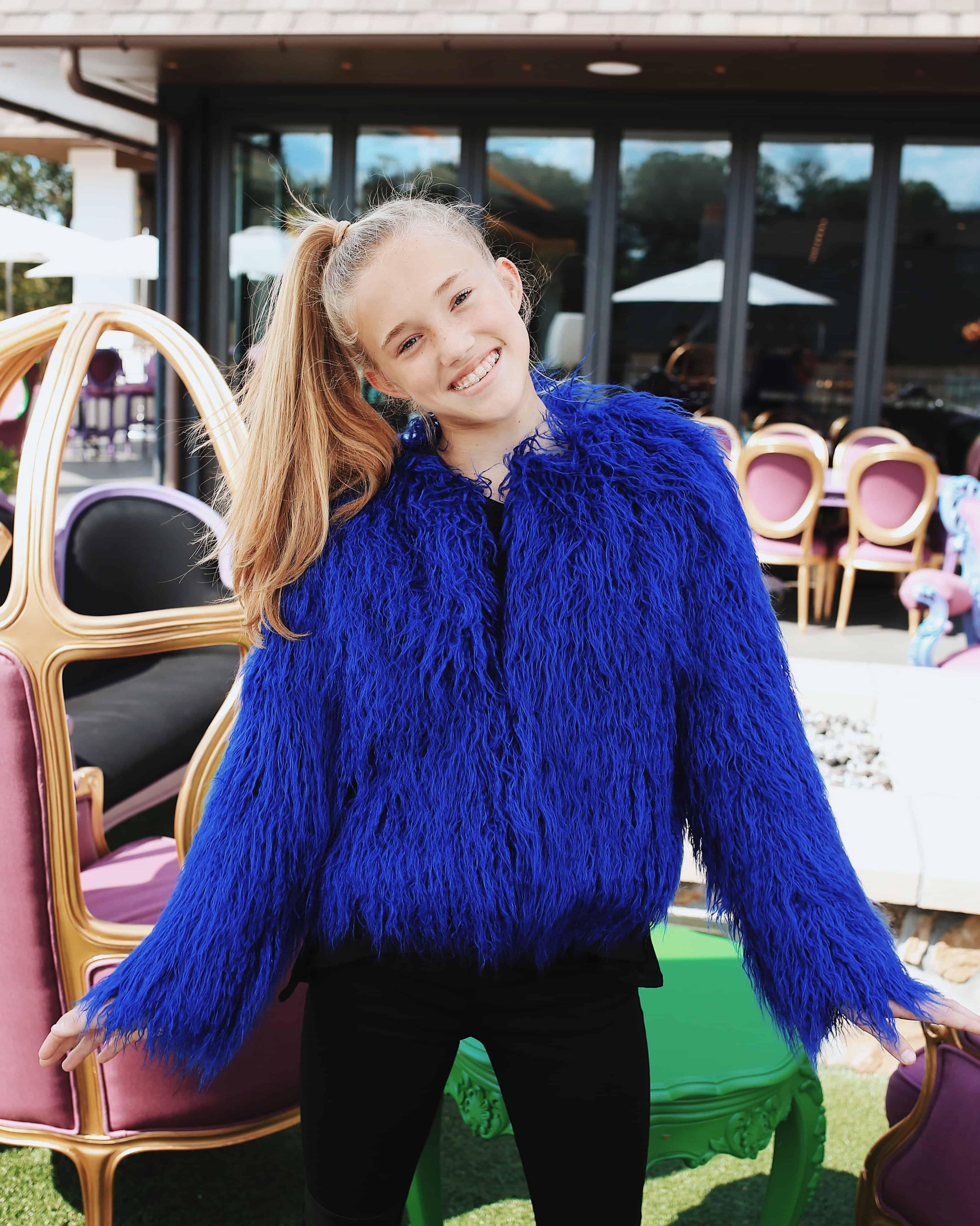 Tween Shag Fur Jacket ~ Cobalt