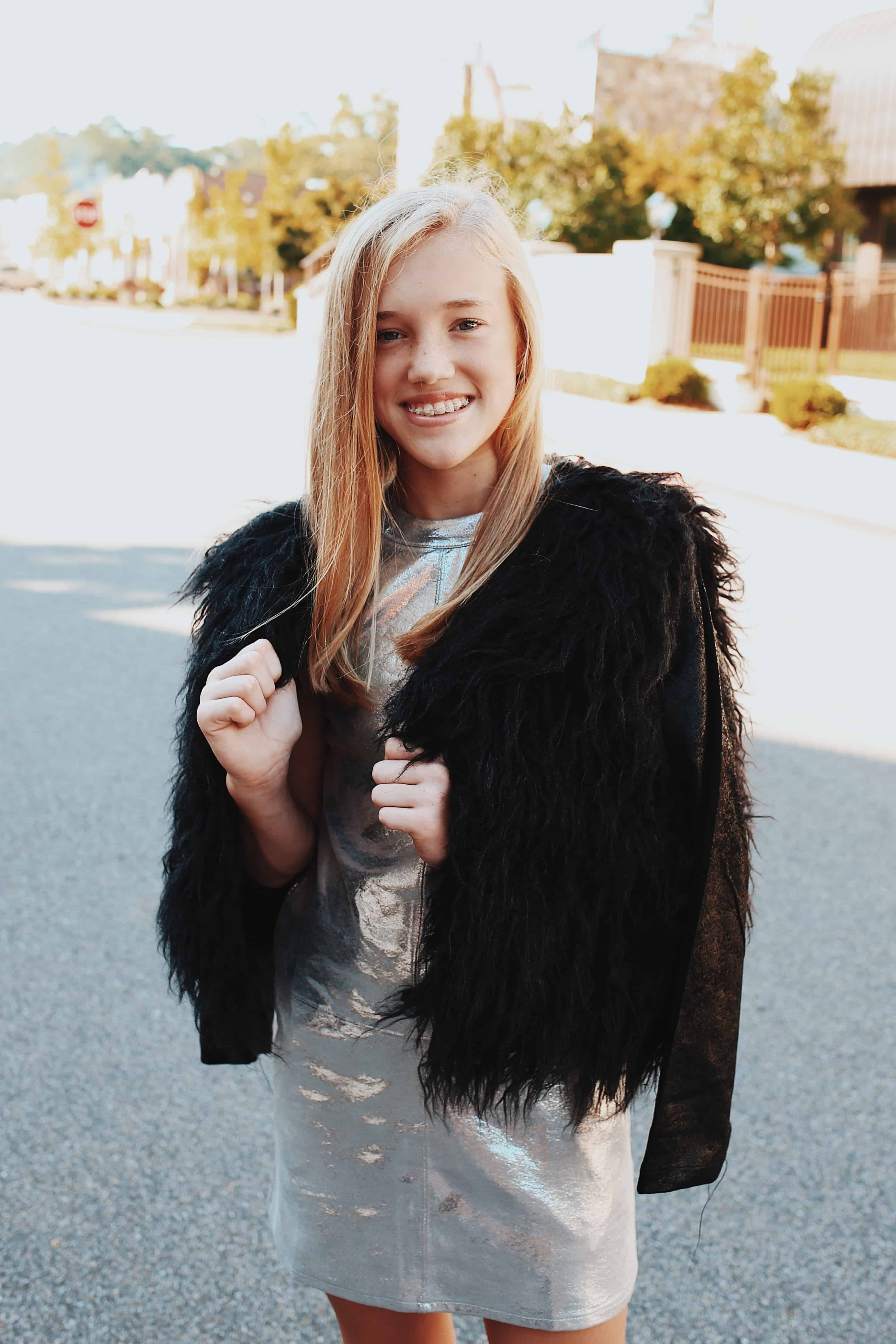 Shag Fur Jacket w/ Pleather Sleeves ~ Black