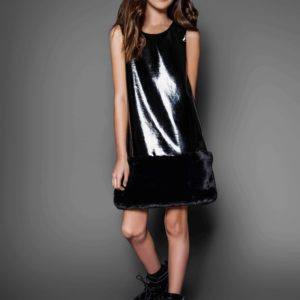 Tween Holiday Crackle Dress w/ Fur Bottom