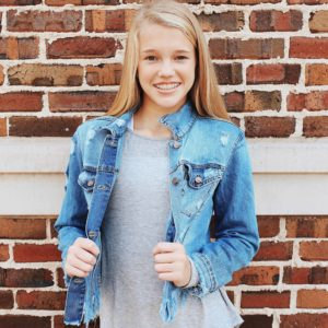 Girls Frayed Denim Jacket