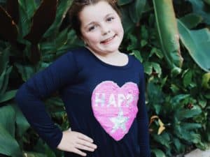 Girls Happy Sequin L/S Top ~ Navy
