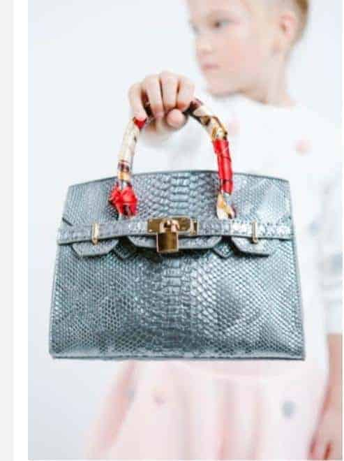 Girls Designer Handbag with Scarf Handles ~ Silver