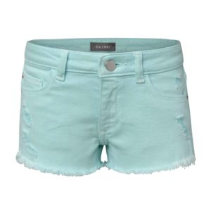 Girls Bleached Aqua Denim Short
