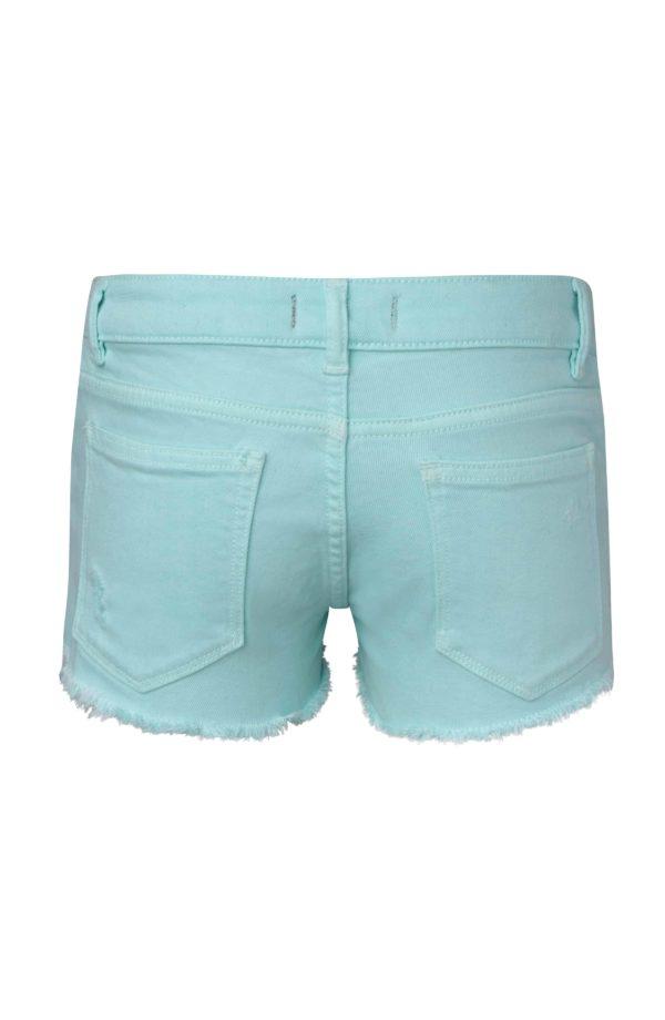 Girls Bleached Aqua Denim Short