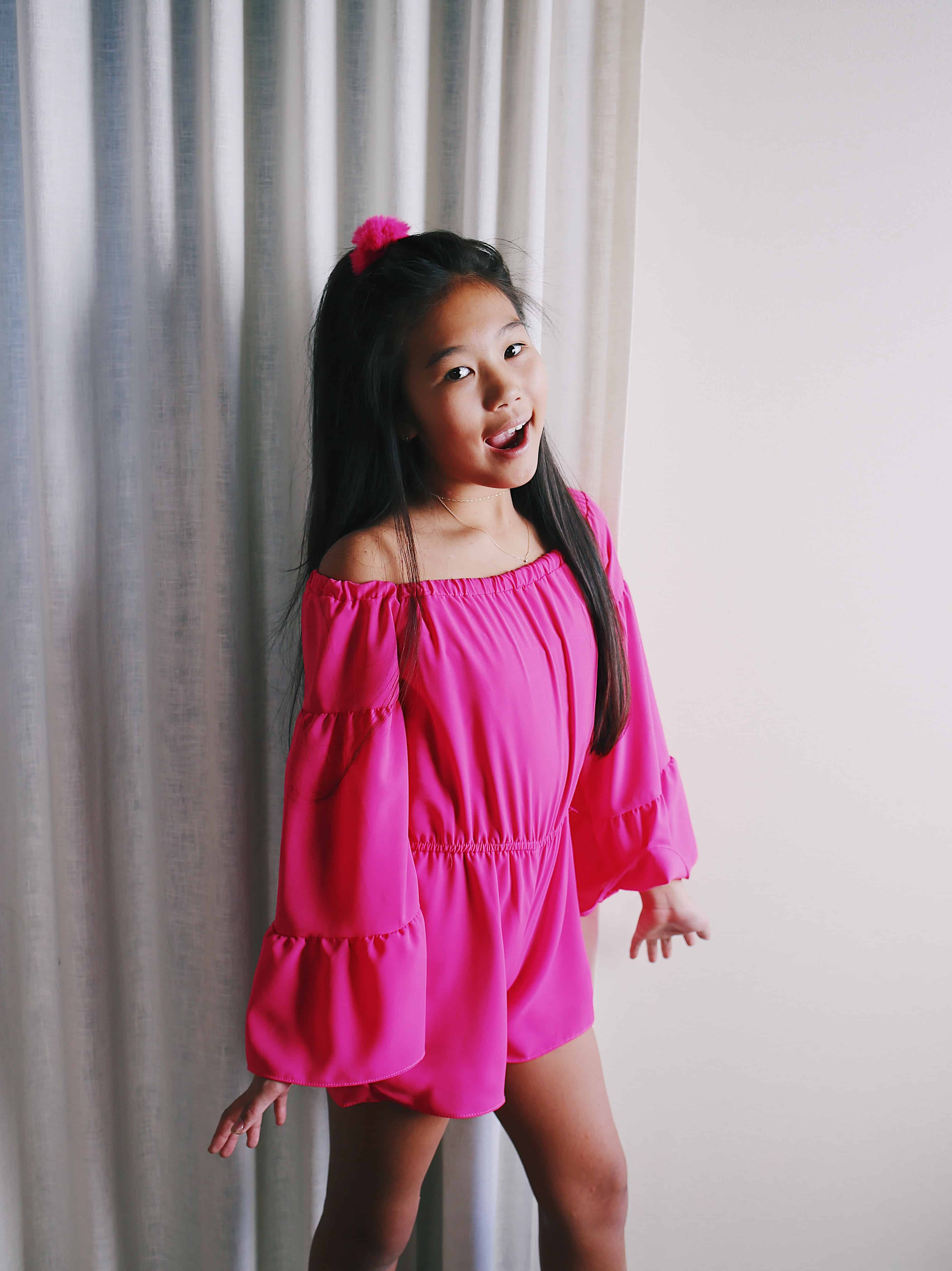 3b6a67e7be88 Girls Hot Pink L S Romper ⋆ Gypsy Girl Tween Boutique