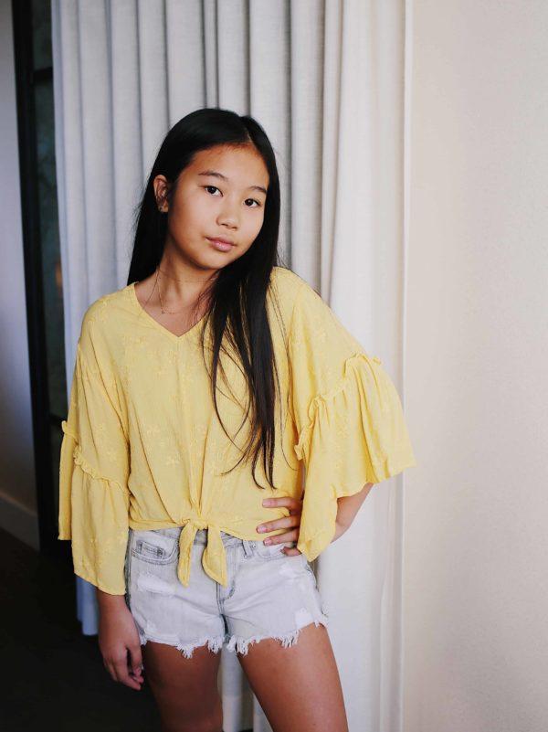 Tractr Girls Grey Denim Shorts