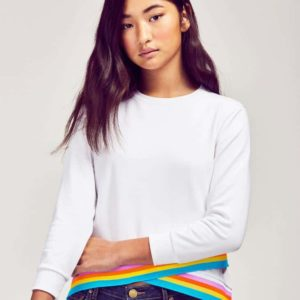 Me.N.U. White:Rainbow Trim Sweatshirt