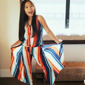 Girls Stripe Flowy Pant