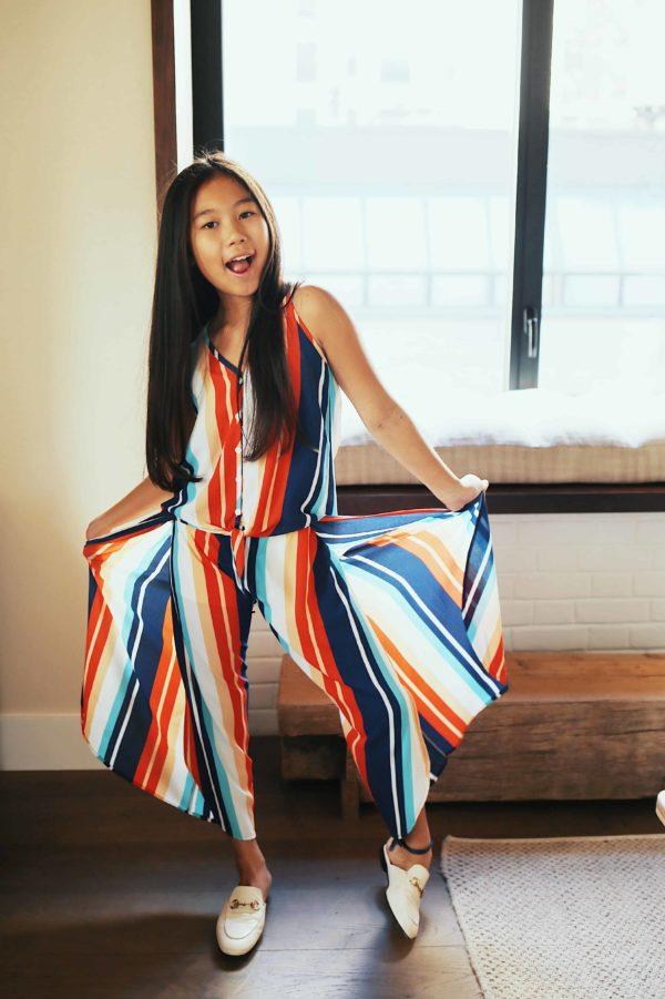 Girls Stripe Flowy Pant
