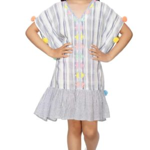 Girls Blue Strip Pom Pom Cover Up