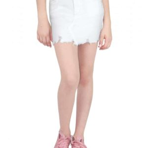 Girls White Denim Skirt