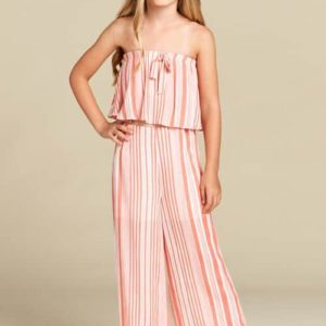 Orange Stripe Girls Culotte Pants