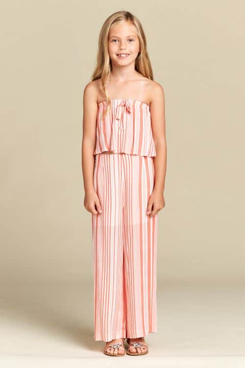 Orange Stripe Girls Culotte Pants