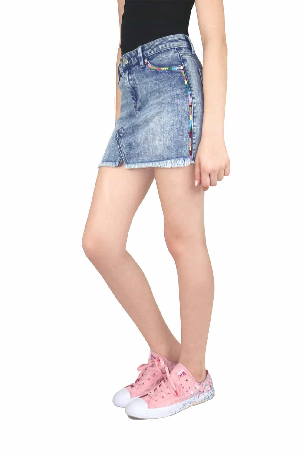03906b5587 Tractr Denim Skirt w/ Side Embroidery ⋆ Gypsy Girl Tween Boutique
